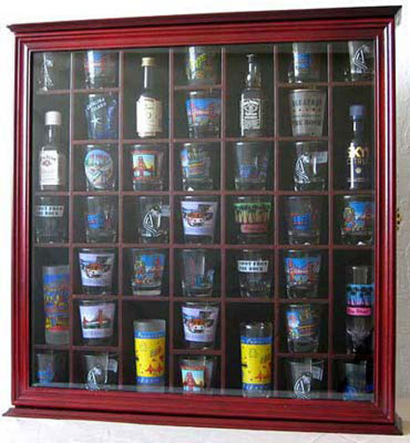 41 Shot Glass Display Case Holder Cabinet Wall Rack with Glass Door, Cherry Finish