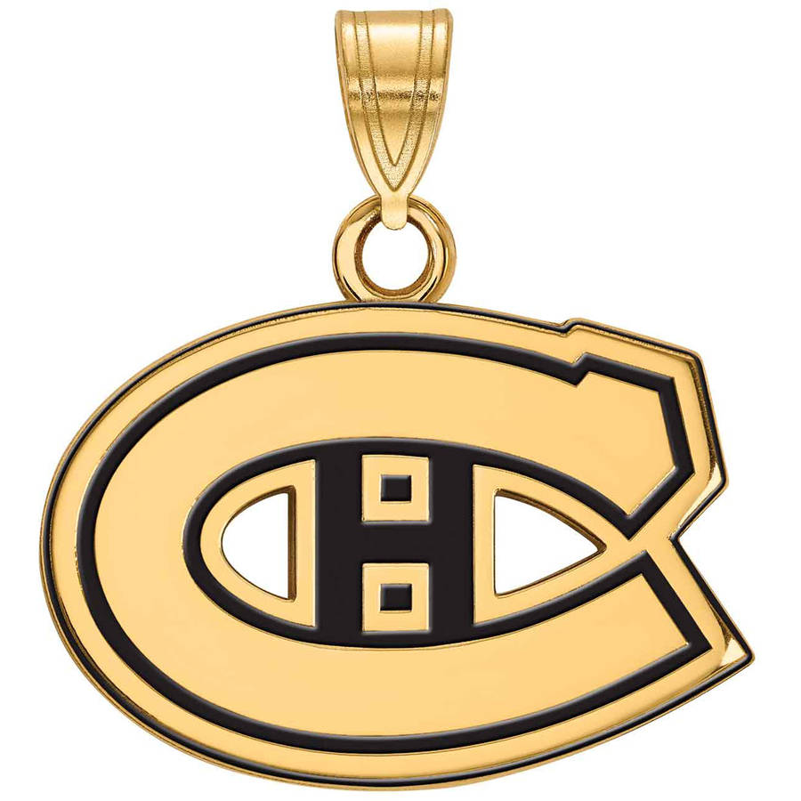 LogoArt NHL Montreal Canadiens 14kt Gold-Plated Sterling Silver Small Enamel Pendant