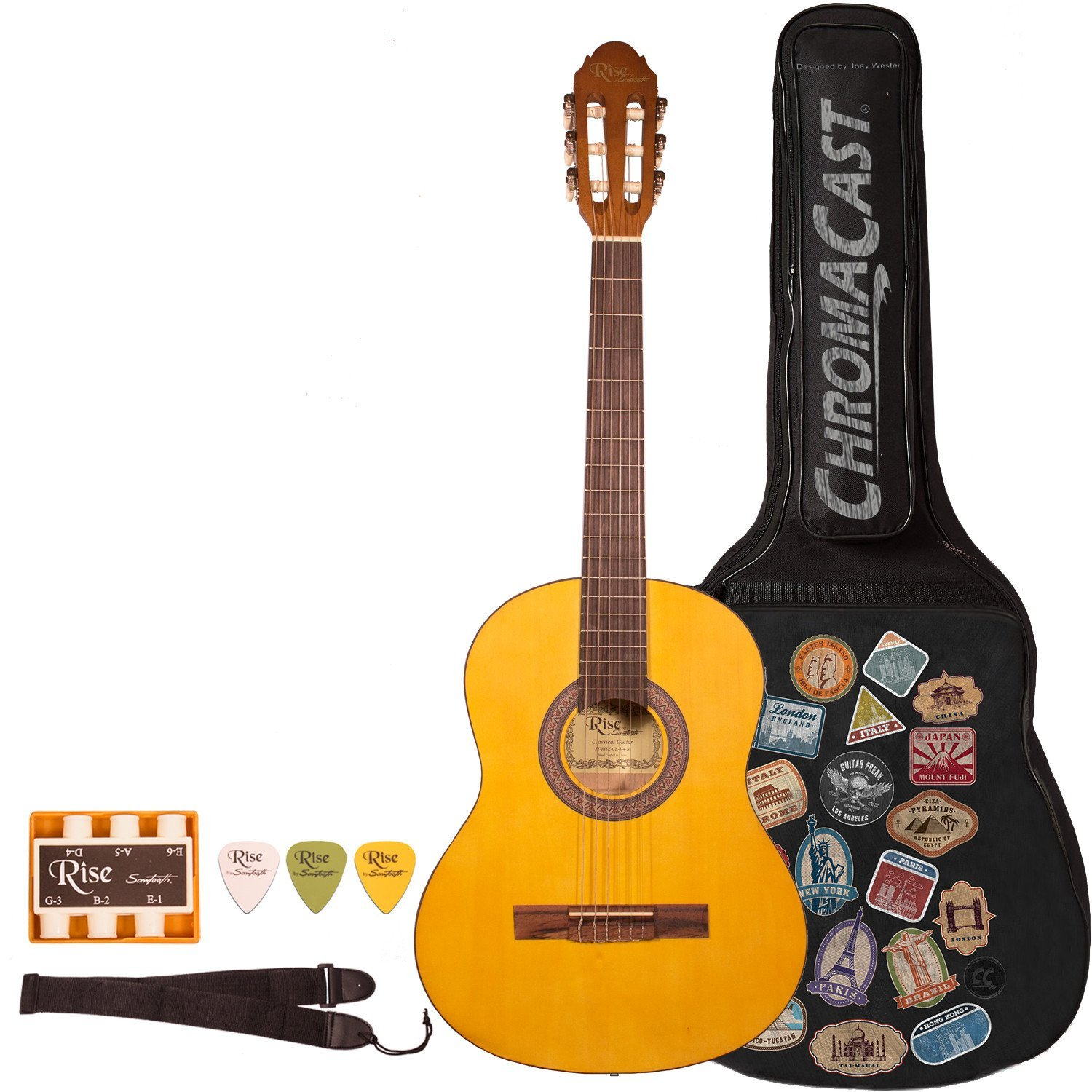 Rise by Sawtooth Full Size Beginner's Acoustic Guitar with World Tour Graphic Gig Bag and Accessories, Satin Gold Stain