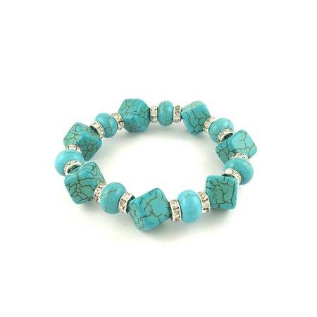Genuine Turquoise and Swarovski Elements Crystal Stretch bracelet
