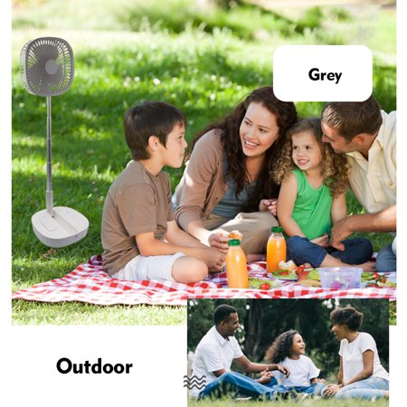 Folding Stand Fan with Remote Control Mini Telescopic Fan USB Rechargeable Table Floor Fan 4 Speeds Adjustable Height for Office Home Outdoor Camping - image 2 de 7