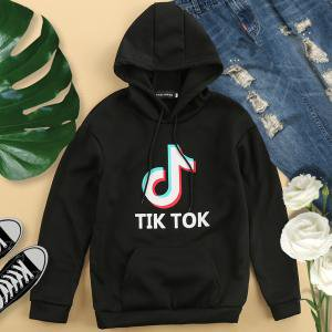 - Fancyleo TIK TOK Hoodie Note Printed Youth Black Sweatshirt