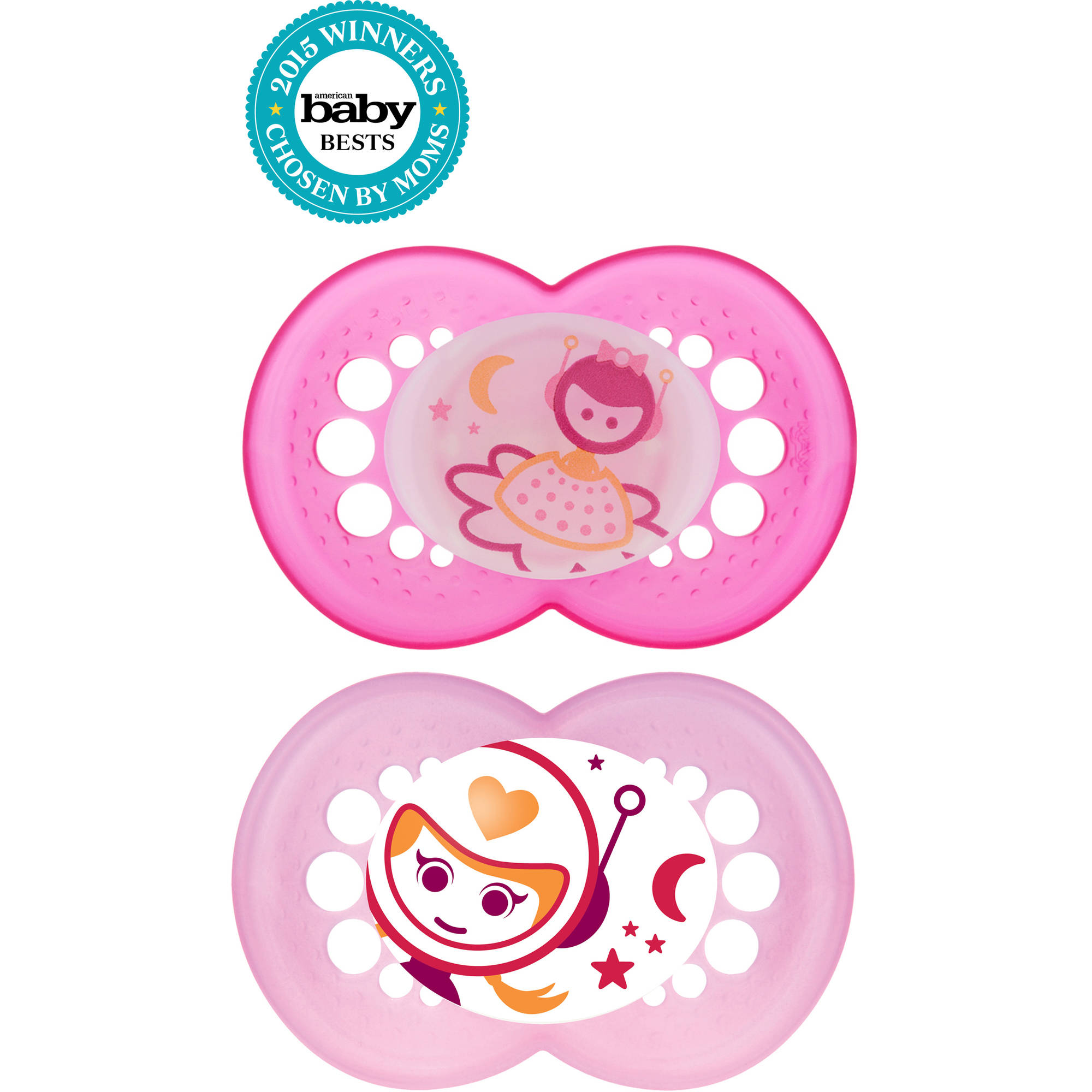 MAM Glow in the Dark Night Orthodontic Pacifier, 6+ Months, 2-Count, Girl
