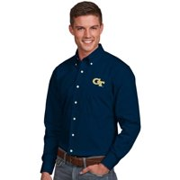 GA Tech Yellow Jackets Antigua Dynasty Woven Long Sleeve Button-Down Shirt - Navy