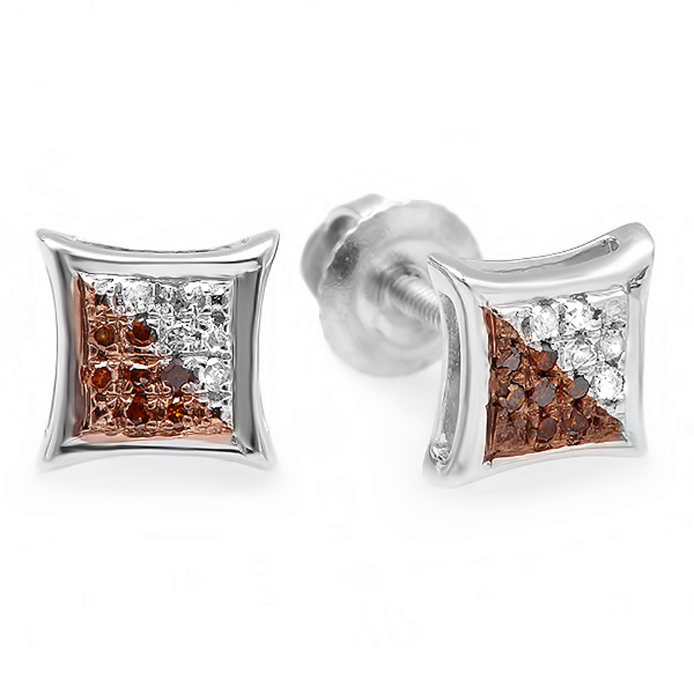 0.10 Carat (ctw) Red & White Round Diamond Micro Pave Setting Kite Shape Stud Earrings 1/10 CT