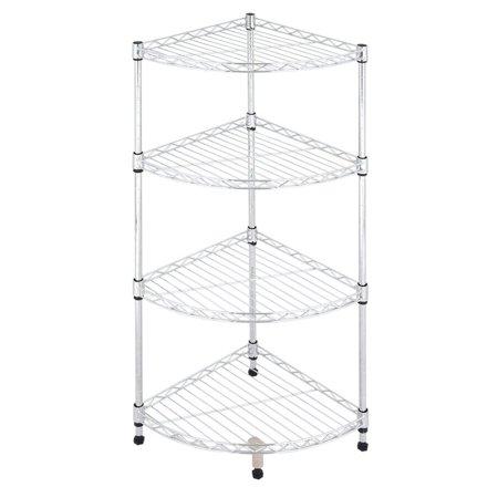 Bath Bathroom Corner Shelf - Ktaxon 4-Tier Corner Rack Display Shelf Kitchen Bathroom Storage Wire Shelving,White