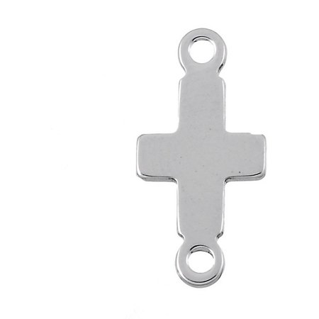- 5pcs Wholesale Stainless Steel Cross Charms Blank Connectors Findings 18.5x9mm