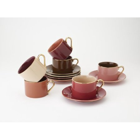 Yedi Houseware Classic Coffee and Tea Aubergine Teacups and Saucers ...