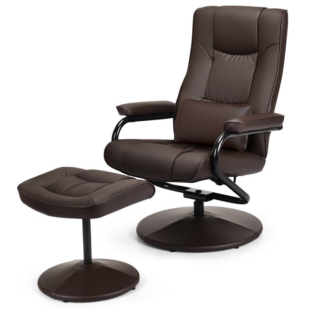 Costway Recliner Chair Swivel Armchair Lounge w Ottoman&Lumbar Support Brown