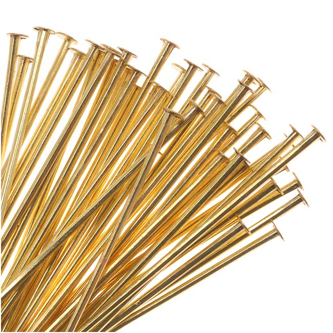 Solid Brass Head Pins 1 Inch Long/22 Gauge (50)
