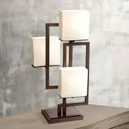 Possini Euro Design Modern Table Lamp Roman Bronze Metal Geometric Opal Glass Square Shades for Living Room Family Bedroom -
