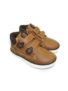 Pipiolo Boys Tan High Top Double Adhesive Strap Sneakers
