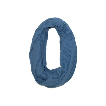 Scarf With Pockets - Size one size Women's Solid Infinity Loop Scarf with Hidden Zipper Pocket