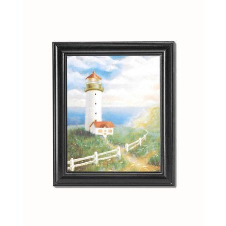 Lighthouse and Cottage with White Picket Fence over Ocean Black Framed 8x10 Art Print