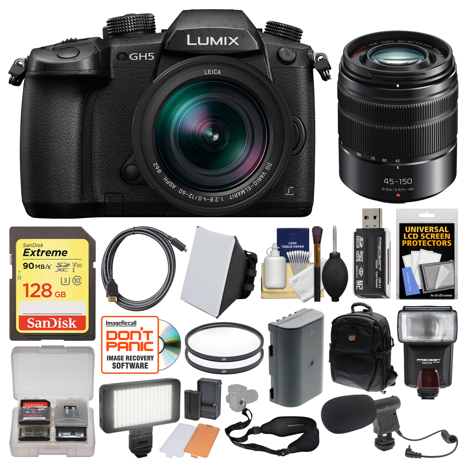 Panasonic Lumix DC-GH5 Wi-Fi 4K Digital Camera & 12-60mm f 2.8-4.0 with 45-150mm Lens + 128GB Card + Backpack... by Panasonic