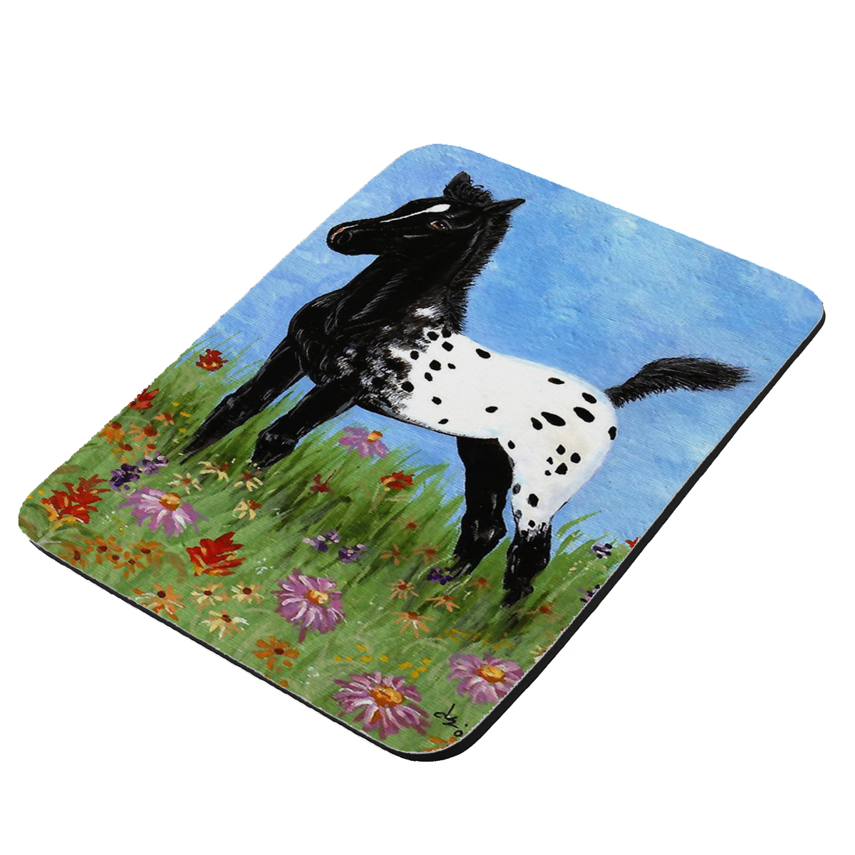 Black Blanket Appaloosa Foal & Western Wildflowers Horse Art by Denise Every - KuzmarK Mousepad / Hot Pad / Trivet