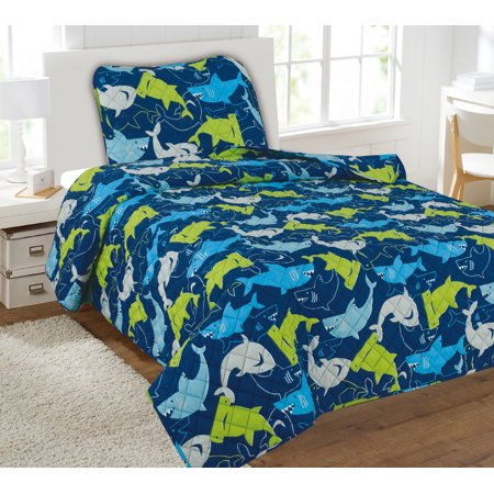 kids bedding quilt set twin size bed covers printed 2 piece bedspread boys blue green sharks. Black Bedroom Furniture Sets. Home Design Ideas