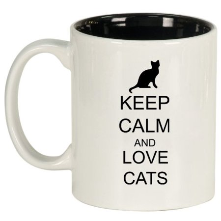 Keep Calm And Love Cats Ceramic Coffee Tea Mug Cup White Black