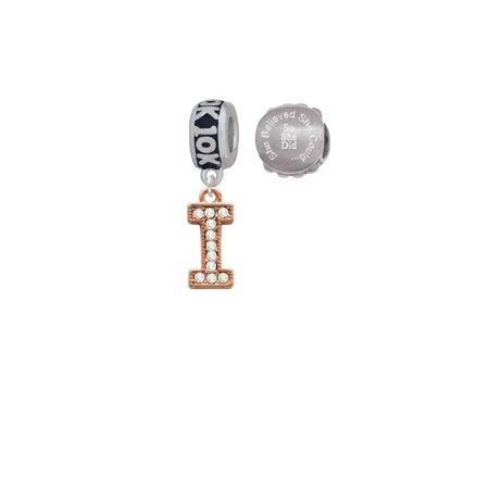 Rose Goldtone Crystal Initial - I - 10K Run She Believed She Could Charm Beads (Set of 2)