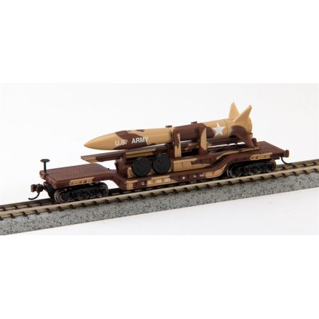 Bachmann Industries Inc. 52' Center-Depressed Flat-Car Desert Military with Missile - N Scale Multi-Colored Depressed Center Flat Car