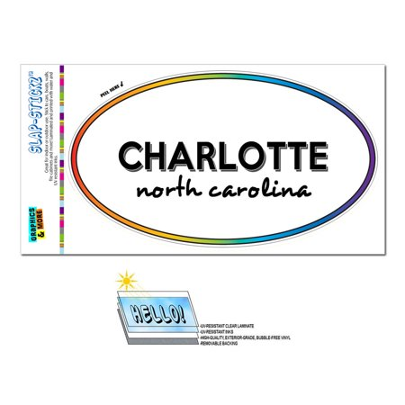 Charlotte, NC - North Carolina - Rainbow - City State - Oval Laminated Sticker