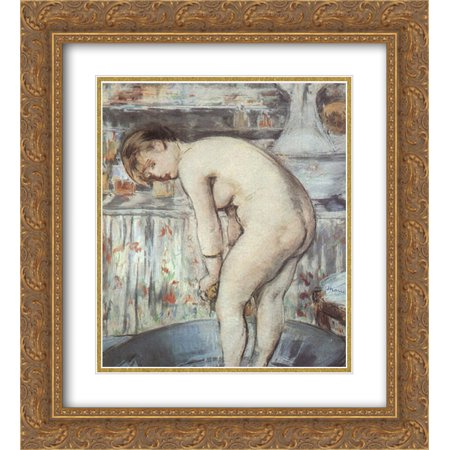 Edouard Manet 2x Matted 20x24 Gold Ornate Framed Art Print 'Woman in a tub' - Gold Tux