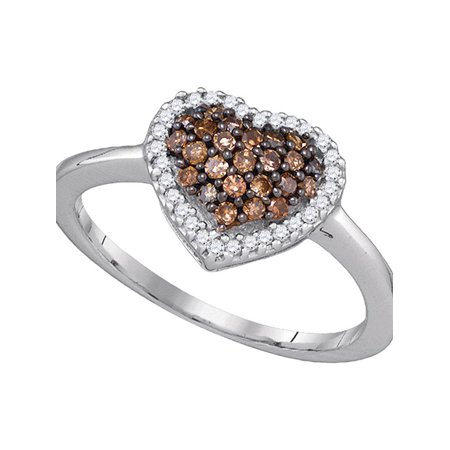 One Love Round Ring - 10k White Gold Cognac-brown Round Diamond Cluster Womens Heart Love Ring 1/3 Cttw