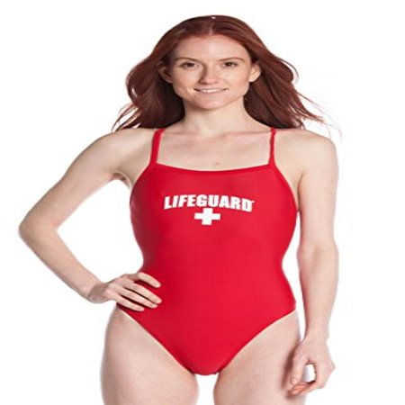 Officially Licensed Lifeguard Swimsuit For Women & Ladies, One Piece Lycra Swimming Suit, Elastic Comfort Straps.