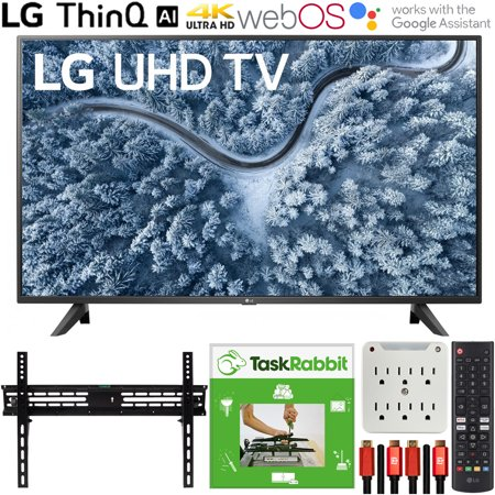 LG 55UP7000PUA 55 Inch UP7000 Series 4K LED UHD Smart webOS TV (2021 Model) Bundle with TaskRabbit Installation Services + Deco Gear Wall Mount + HDMI Cables + Surge Adapter