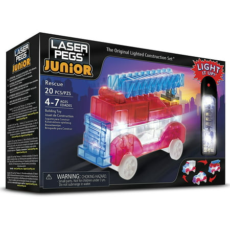 Rescue Building - Juniors- 3 In 1 Rescue Building Kit, Includes Zippy Do Power Base, 19 tinted interlocking building pieces, batteries & instruction manual. 100%.., By Laser Pegs