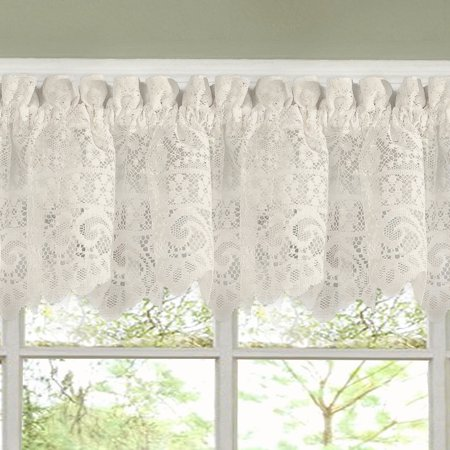 Lace Window Curtains (Hopewell Heavy Floral Lace Kitchen Window Curtain 12