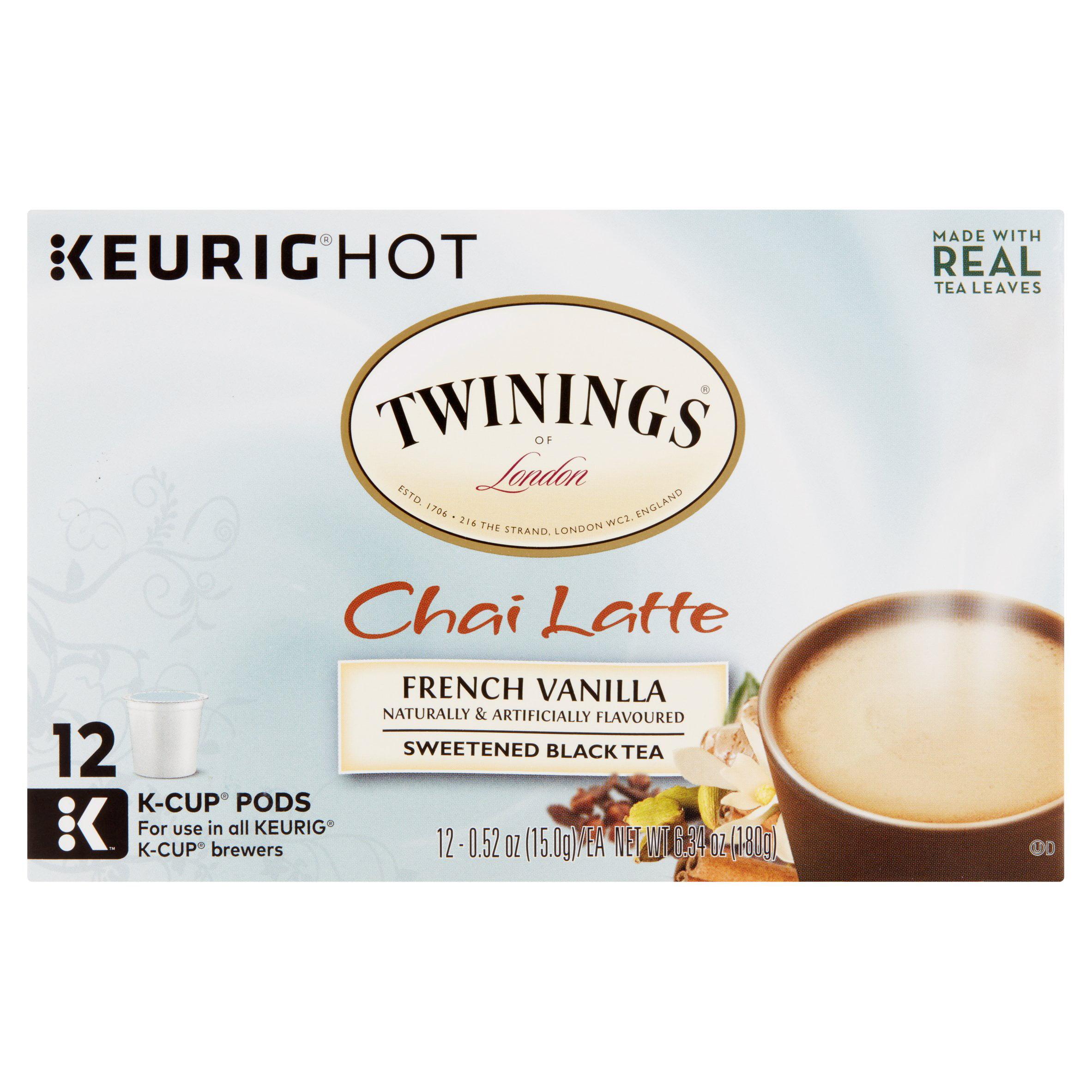 Keurig Hot Twinings of London Chai Latte French Vanilla Sweetened Black Tea, 0.52 oz, 12 pc, 6 pack