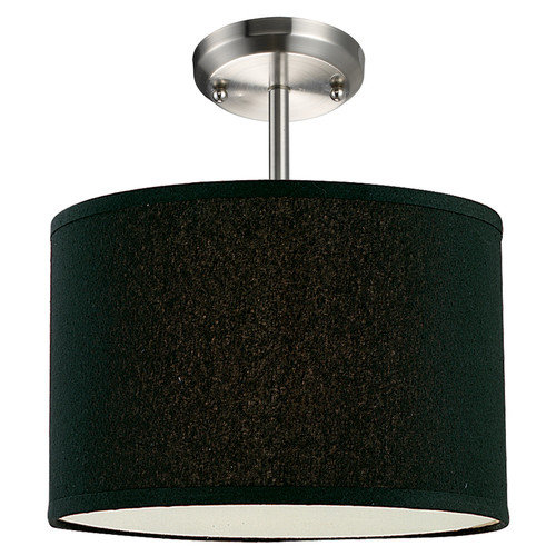 Albion Brushed Nickel w Black Shade 1 Light Pendant