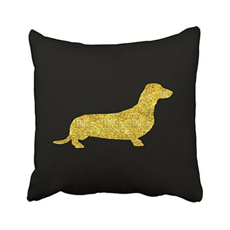 WinHome Decorative Dachshund Gold Sequin Stripes Pillow Cover for Sofa or Bedroom Size 20x20 inches Two Side ()