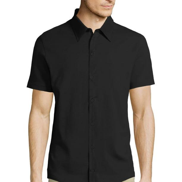 Hat and Beyond Men's Short Sleeve Premium Slim Fit Solid Dress Shirts