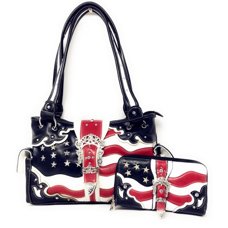 Texas West American Flag Rhinestone Women Leather Concealed Handbags Purse Wallet Set In Multi Colors (Concealed Wallet)