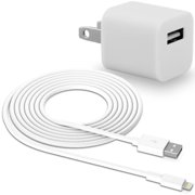 Travel Wall Charger and Lightning Connector Sync Charging Cable - White