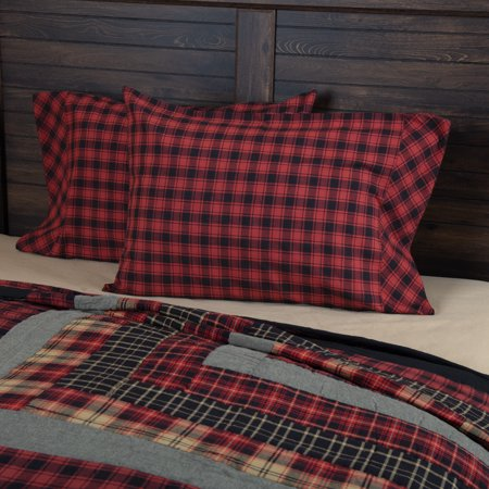 Chili Pepper Red Rustic & Lodge Bedding Shasta Cabin Cotton Buffalo Check Standard Pillow Case Set of 2