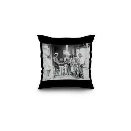 Cheyenne Men Converse with White Man through Interpreter Photograph (16x16 Spun Polyester Pillow, Black (Cheyenne Bedding)