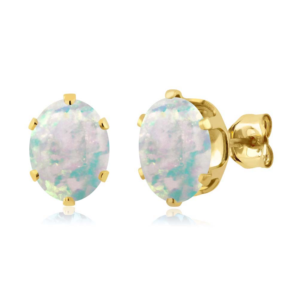 2.10 Ct Oval Cabouchon 8x6mm White Opal 925 Yellow Gold Plated Silver Stud Earrings