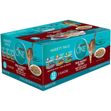 Purina One True Instinct Recipes Variety Pack Premium Cat Food 12 3 Oz  Cans