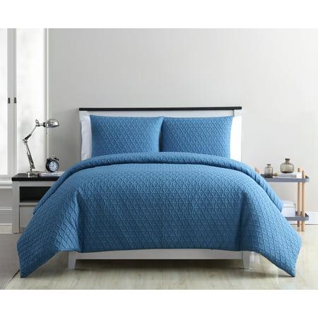 VCNY Home Mykonos Textured Geometric Duvet Cover Set, Queen, Blue ()