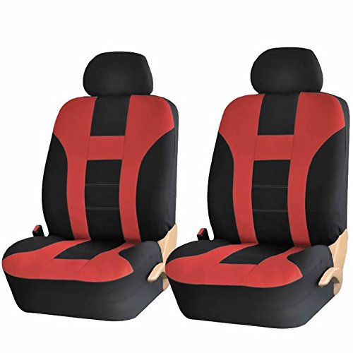 4PC RED & BLACK DBL STITCH POLYESTER FRONT CAR SEAT COVERS SET UNIVERSAL SUV