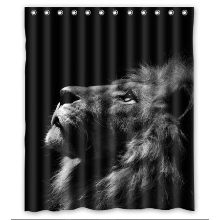 GreenDecor Best Blcak Lion Waterproof Shower Curtain Set with Hooks Bathroom Accessories Size 60x72