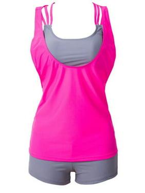 Womens Tankini Padded Push Up Boxer Brief Swimsuit Swimwear Bikini Sets Vest Top Beachwear Bra Swimming Costume Bathing
