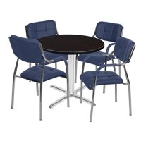 "Via 30"" Round X-Base Table- Mocha Walnut/Chrome & 4 Uptown Side Chairs- Navy"