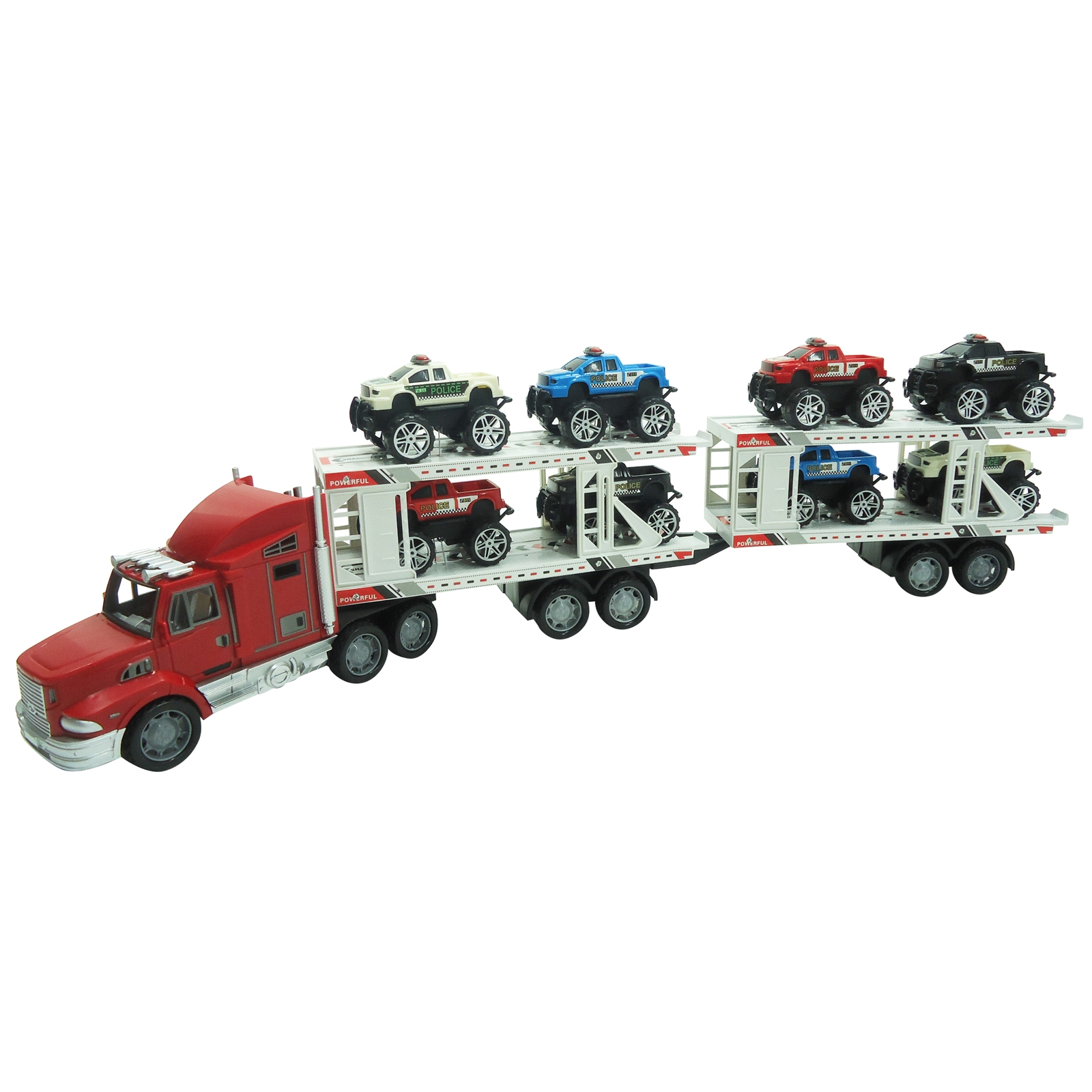 Extreme Semi Truck Trailer with 8 Monster Cars Friction Powered Toy