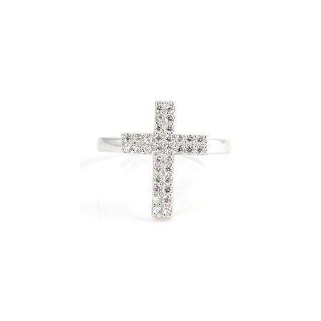 (Pascollato Jewelry 925 Sterling Silver Cross Micro Pave Cz Fashion Ring Religious Jewelry)