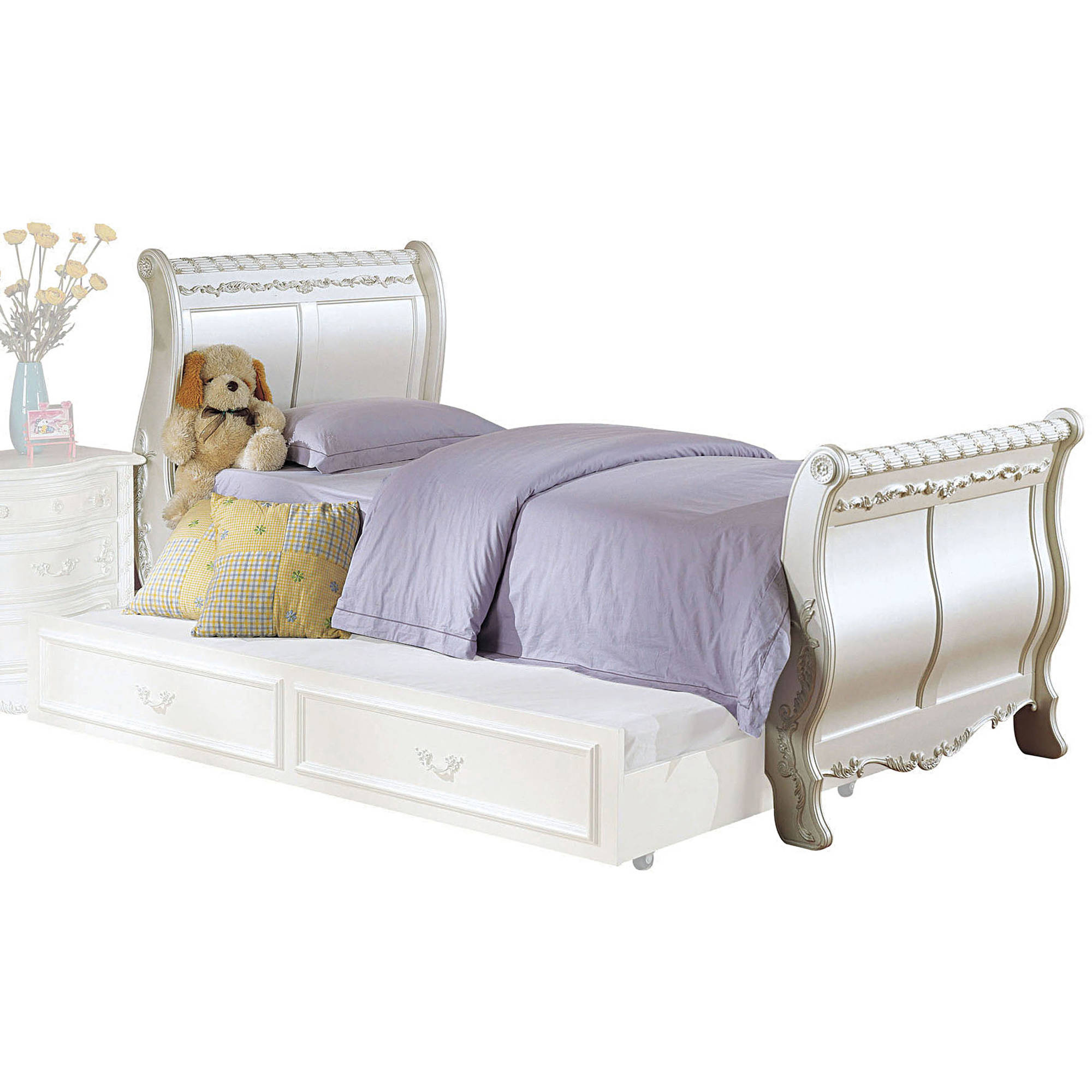 Acme Pearl Twin Sleigh Bed, Pearl White and Gold Brush Accent, Box 1 of 3 by Acme Furniture