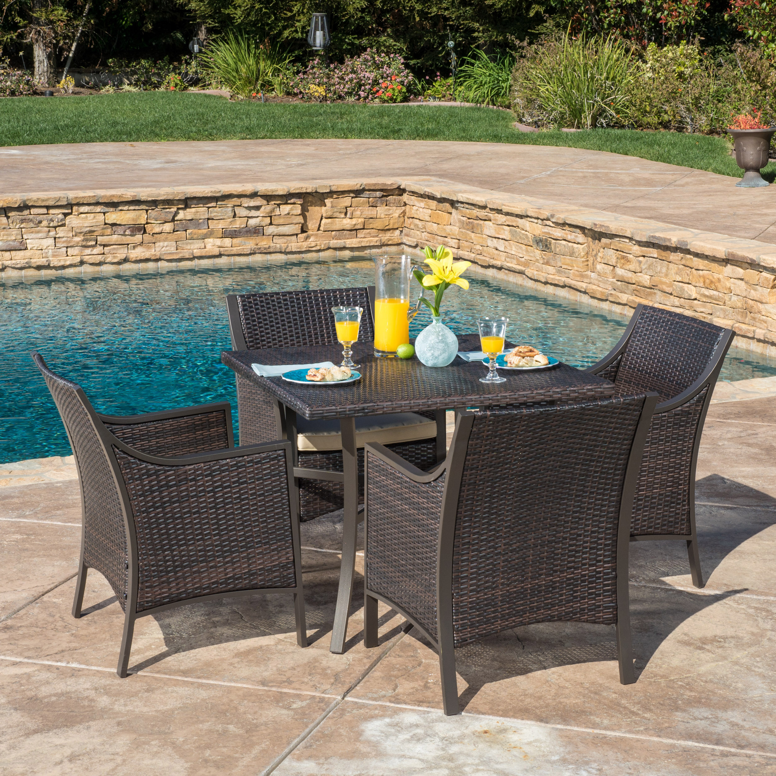 Montgomery 5 Piece Wicker and Aluminum Dining Set with Cushions, Multibrown